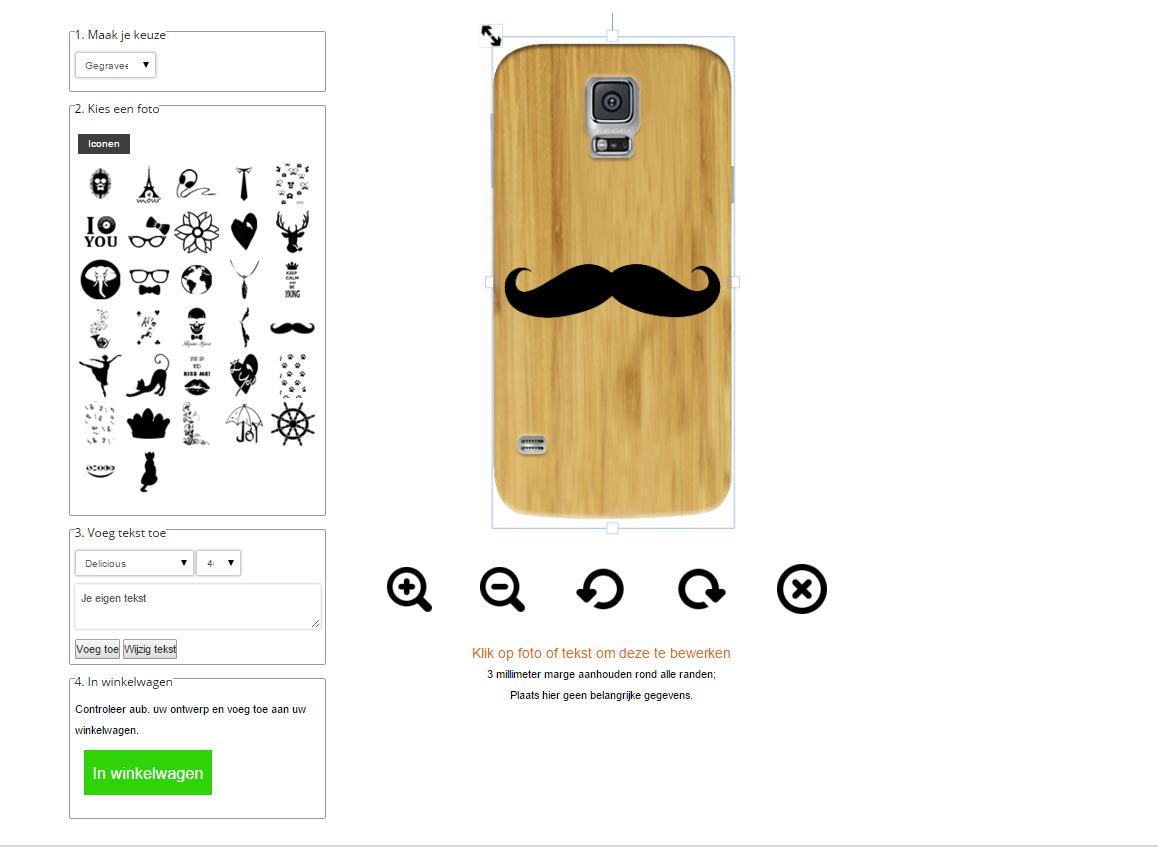 S5 wooden case ontwerpen met eigen design