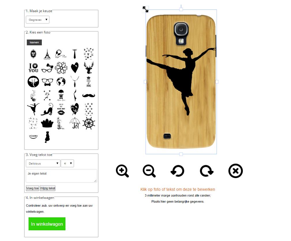Samsung Galaxy S4 wooden case ontwerpen met eigen design