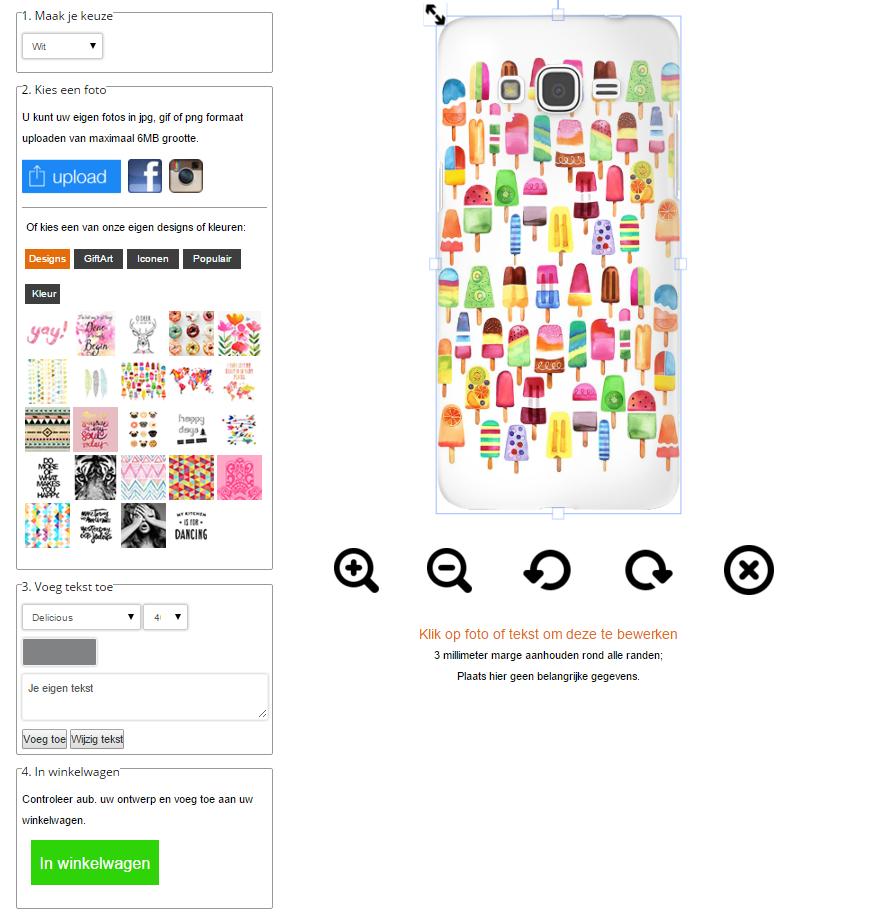 Coque personnalisable Samsung Galaxy Grand Prime avec photo sur un étui blanc