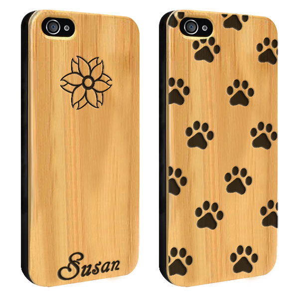 coque personnalisée iphone 4S, coque en bois gravée