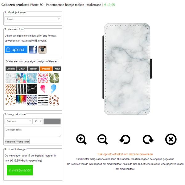 iPhone 5C portemonnee hoesje ontwerpen