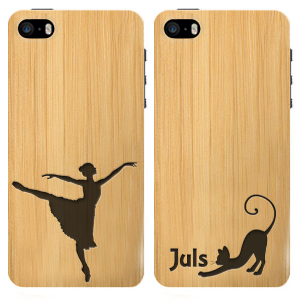 coque personnalisée iPhone 5, 5S ou SE, coque en bois gravée