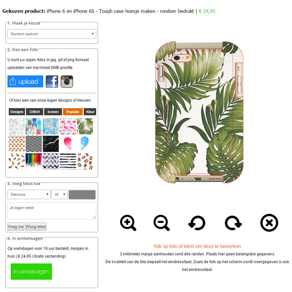 iPhone 6S tough case ontwerpen