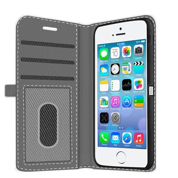 coque personnalisée iphone 5(S) et iPhone SE, coque portefeuille
