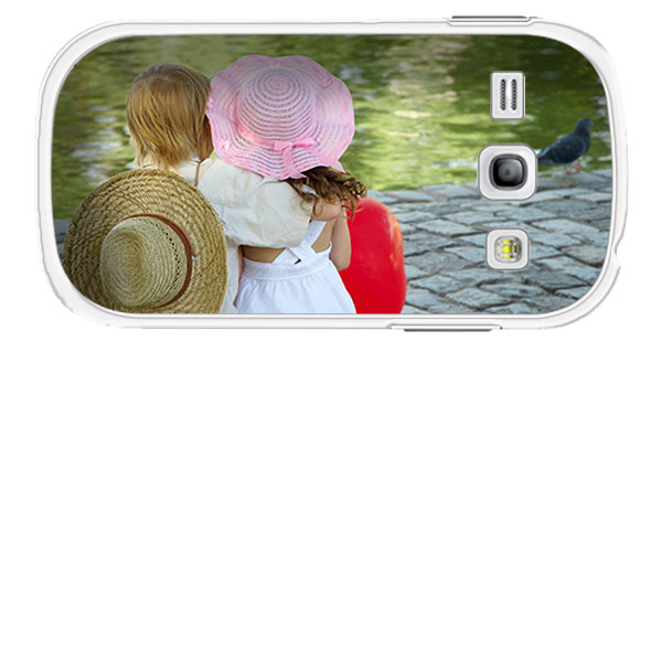 Samsung Galaxy Core Hardcase hoesje met foto zwart Wit of Transparant