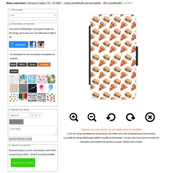 coque personnalisée Galaxy S5, coque portefeuille
